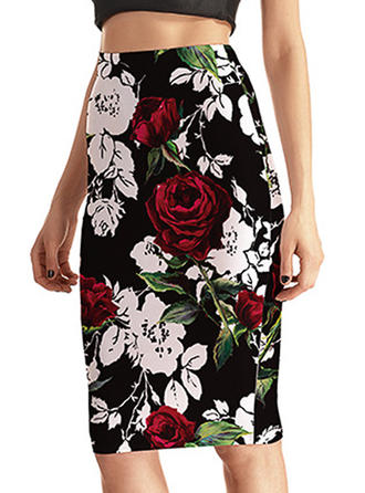 Polyester Floral Knee Length Bodycon Skirts