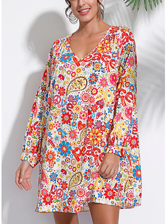 印刷/フローラル 長袖 シフトドレス 膝上 カジュアル/ボーホー/休暇 ドレス