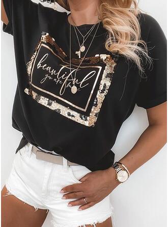 Figur Druck Pailletten Rundhalsausschnitt Kurze Ärmel T-Shirts