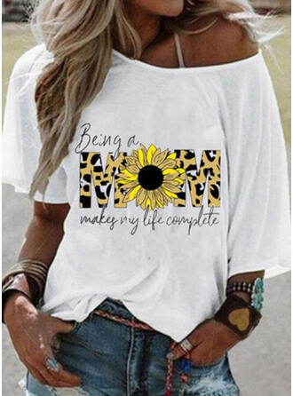 Print Sunflower Print One-Shoulder Short Sleeves Casual T-shirts