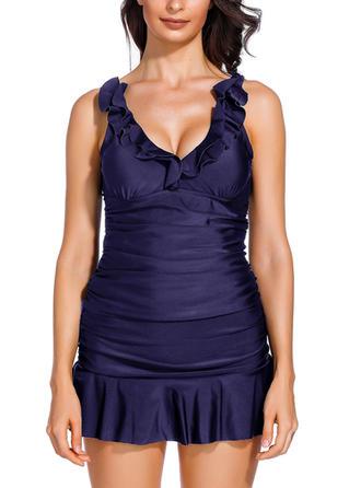 Solid Color U Neck Elegant Swimdresses Swimsuits