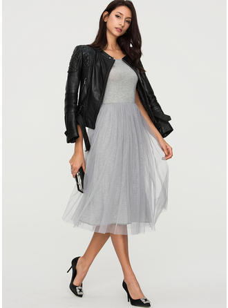 Solid Sleeveless A-line Midi Casual Dresses