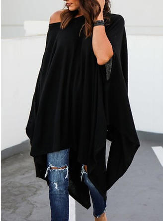 Batwing Sleeves Shift Asymmetrical Casual Dresses