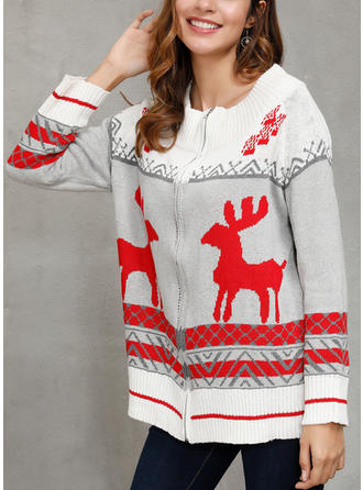 Print Cartoon Christmas Round Neck Sweaters