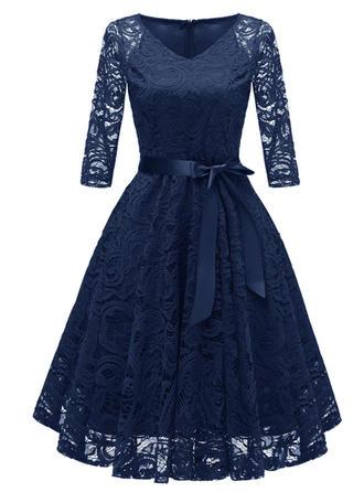 Lace/Solid 3/4 Sleeves A-line Knee Length Vintage/Elegant Dresses