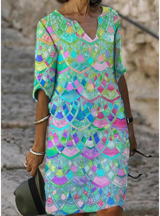 印刷 1/2袖 シフトドレス 膝丈 カジュアル ドレス