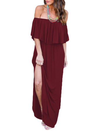 Solid Off-the-Shoulder Maxi Shift Dress