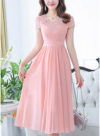 Chiffon With Lace Midi Dress