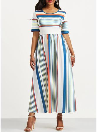 Polyester/Spandex With Print Midi Dress