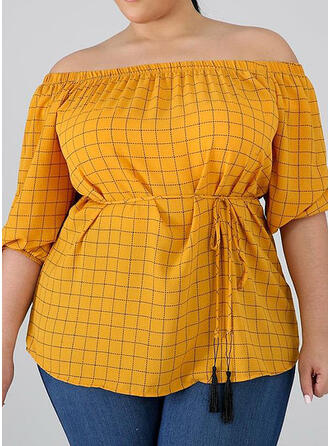 Print Off the Shoulder 1/2 Sleeves Casual Plus Size Blouses