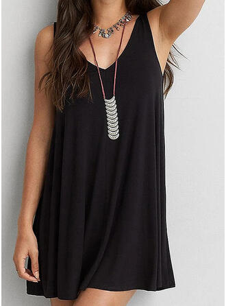 Solid Sleeveless Shift Above Knee Little Black/Sexy/Casual/Vacation Dresses