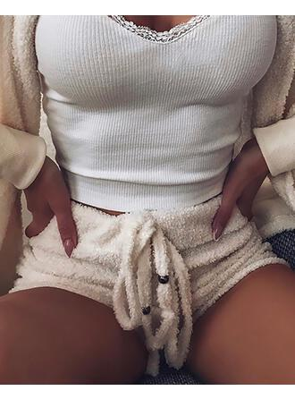 Lange Ärmel Einfarbig Sexy Pyjamasets