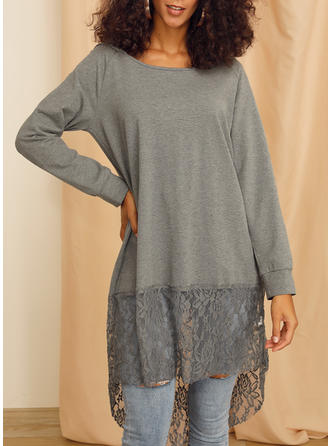 Solid Lace Round Neck Long Sleeves Casual Elegant Knit Blouses