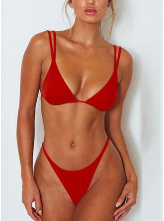 Couleur Unie Taille Basse À Bretelles À La Mode Bikinis Maillots De Bain