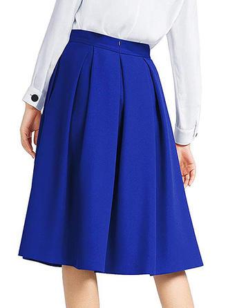 poliéster Color sólido Hasta la rodilla Faldas Acampanadas Faldas A-Line