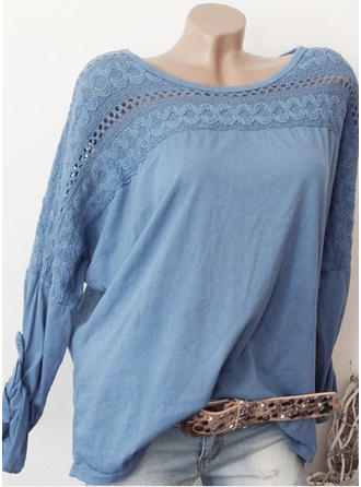 Cotton Polyester Round Neck Plain Long Sleeves Casual Blouses