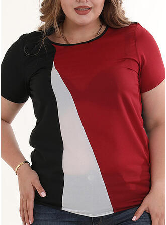 Color Block Round Neck Short Sleeves Casual Plus Size T-shirts