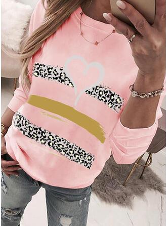 Print Leopard Hjerte Rund hals Lange ærmer Sweatshirts