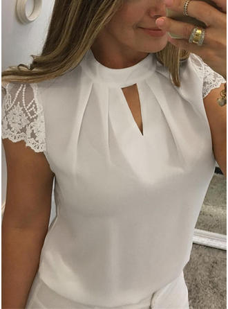 Cotton Round Neck Plain Short Sleeves Casual Blouses