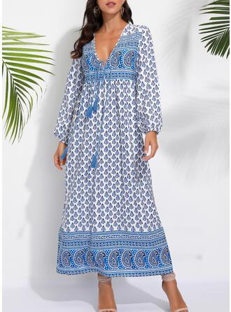 Print Long Sleeves Shift Casual/Boho/Vacation Maxi Dresses