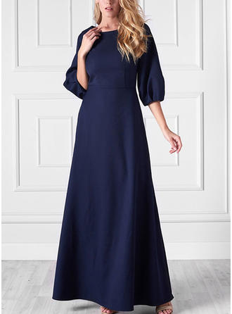 Solid 3/4 Sleeves A-line Maxi Casual/Party/Elegant Dresses