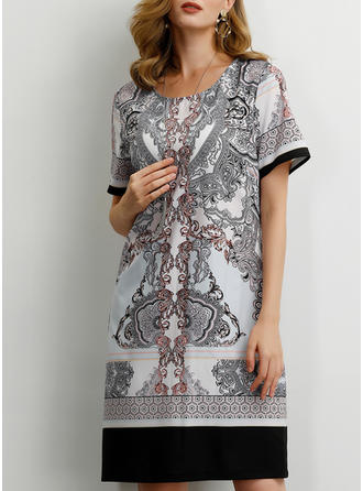 Print/Floral Short Sleeves Shift Knee Length Casual/Boho/Vacation T-shirt Dresses