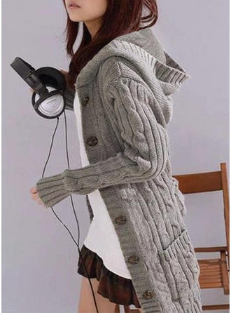 Solid Cable-knit Chunky knit Pocket Hooded Cardigan