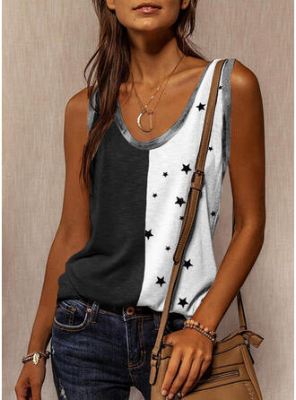 Color Block Print Round Neck Sleeveless Tank Tops