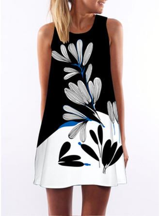 Print/Floral Sleeveless Shift Above Knee Casual/Party/Vacation Dresses