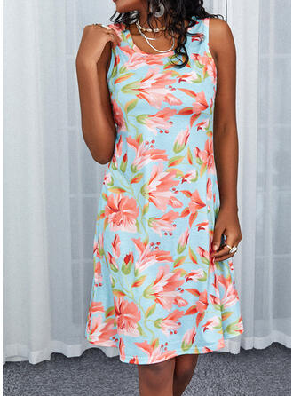 Print/Floral Sleeveless Sheath Knee Length Casual Dresses