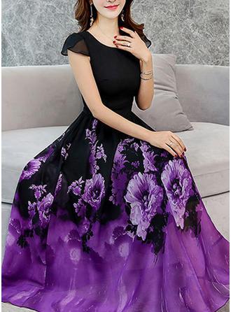 Print/Floral Short Sleeves A-line Maxi Vintage/Casual/Elegant Dresses