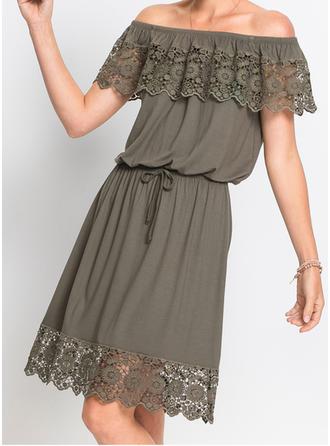 Solid Off-the-Shoulder Above Knee A-line Dress