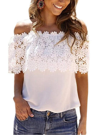 Chiffon Off the Shoulder Lace Short Sleeves Casual Blouses