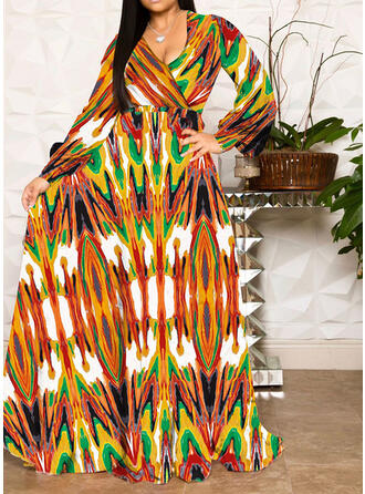Print Long Sleeves A-line Casual/Boho/Plus Size Maxi Dresses