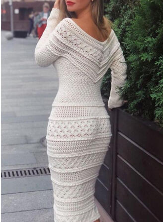 Solid Long Sleeves Bodycon Sweater/Pencil Elegant Midi Dresses