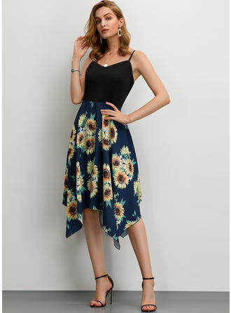 Print/Floral Sleeveless A-line Asymmetrical Casual Dresses