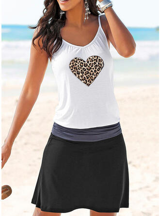 Print/Leopard/Heart Sleeveless Sheath Above Knee Casual Slip Dresses
