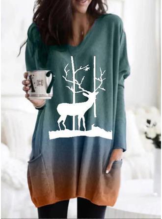 Print V-neck Long Sleeves Christmas Blouses