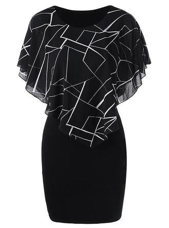 Print Round Neck Knee Length Bodycon Dress