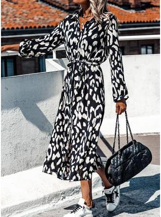 印刷 長袖 シースドレス シャツ カジュアル/休暇 ミディ ドレス