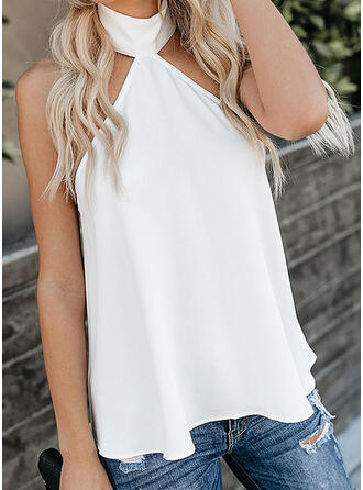 Solid Cold Shoulder Sleeveless Casual Tank Tops