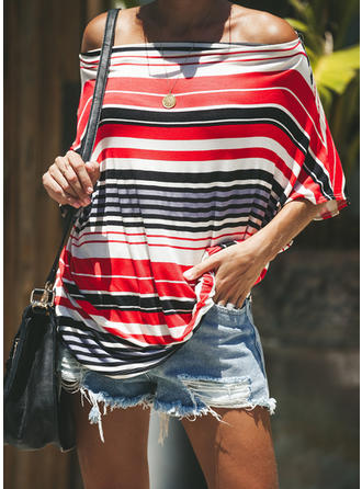 Striped Off the Shoulder 3/4 Sleeves Casual Sexy Blouses