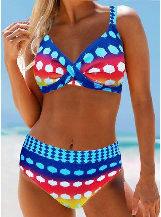 Punct Talie Înaltă Curea Boem Atractiv Büyük beden Bikini Mayolar
