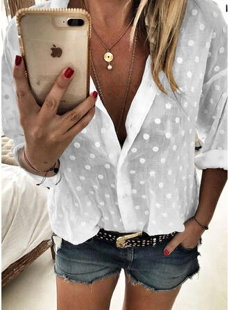 PolkaDot V-Neck Long Sleeves Button Up Casual Shirt Blouses
