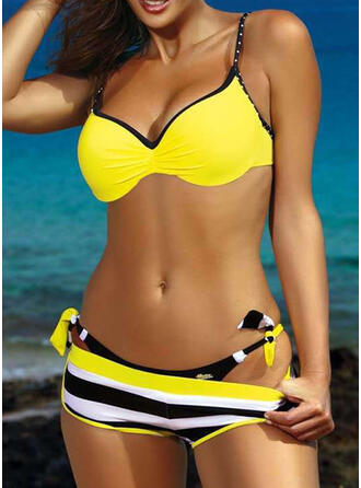 Stripe Push Up Strap Sexy Eye-catching Bikinis Swimsuits