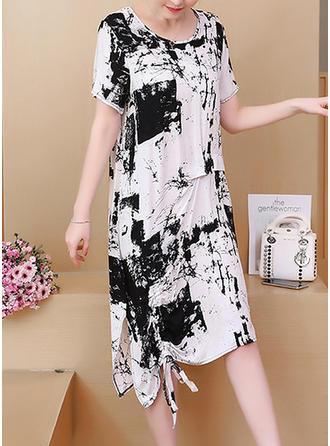 Print Round Neck Asymmetrical Shift Dress