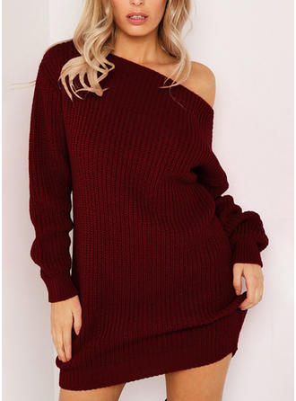 Polyester Round Neck Plain Sweater Dress