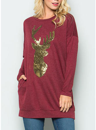 Cotton Solid Christmas Sweatshirt