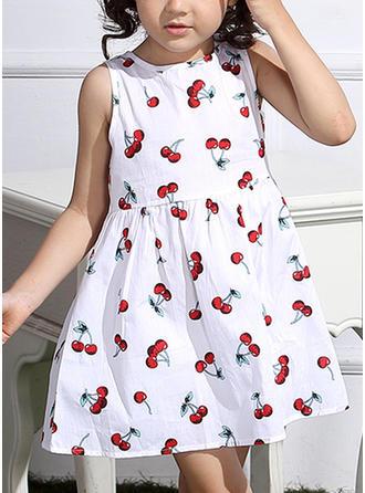Meninas Neck redonda Impressão Casual Vestido