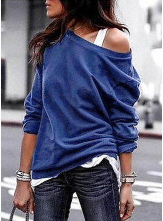 Solid One Shoulder Long Sleeves Casual Blouses